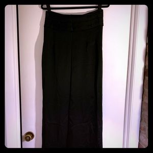 Strapless Black Silk Maxi Dress